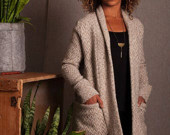 Long cardigan Portland 100 % wool