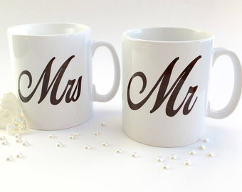 Mr & Mrs mugs, great wedding or anniversary gift for a lovely couple