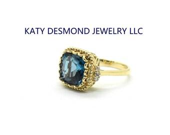 London Blue Topaz Diamonds Ring in 14K Gold Ring /Engagement Ring /Wedding Ring /Graduation Ring/Anniversary Ring/Birthday Ring/Everyday