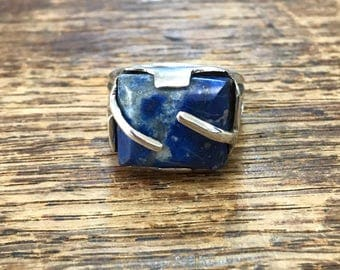 Lapis Lazuli Chunky Sterling Silver Ring