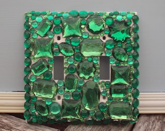 Eclectic Style Emerald Green Bejeweled Gem Embellished Double Light Switch Plate Cover