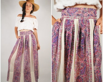 1970's Skirt - 70's Boho Maxi Skirt - Sheer Cotton Skirt - Size Small