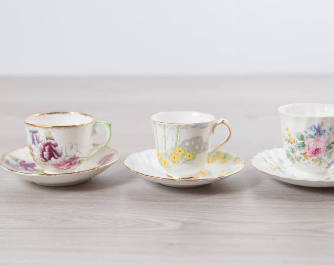 Vintage Mini Teacups - Set of 3 Tea Cups and Saucers with Floral Pattern - Flowers Bone China - Royal Doulton, Springtime Gladstone