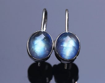 Electric Blue and Yellow Rainbow Moonstone Earrings, Short Dangle Latch Back, Solid Sterling Silver, Rare Top Quality Blue Moonstone, TGC2