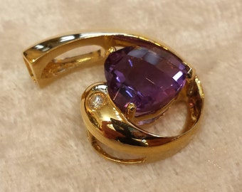 14 K yellow  gold amethyst and diamond pendant