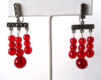 Pair of Vintage Screw-Back Deco Crystal Earrings