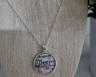Denver Colorado bezel necklace/Gift For Mom, Gift for her/Gift for him/geography/travel/vintage jewelry/pendant necklace/custom jewelry