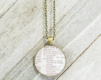 Matthew 6:9-11/Vintage Necklace Pendant/Gift for Her/Gift for mom/Gift for Wife/Christian Jewelry/Vintage Jewelry/Custom Jewelry