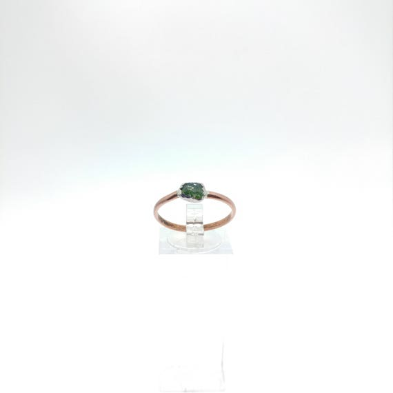 Raw Chrome Diopside Ring | Mixed Metal Ring Sz 9.75 | Raw Green Crystal Ring | Raw Stone | Forest Green Crystal Jewelry