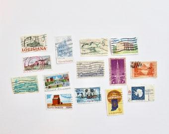 14 Travel-Themed Vintage Used Stamps | Vintage Postage |Postage Stamps | Embellishments | Vintage Styling Props | Vintage Wedding Stationery