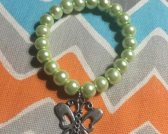 Glass Pearl Beaded Bracelet w/ Butterfly Charm