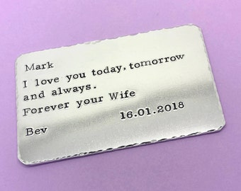 Husband To Be Gift, Husband Wedding Gift, Husband Wallet Insert Card, Wedding Gift, Personalised Wallet Insert, Hand Stamped, Your Wife