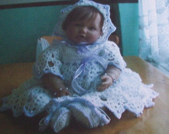 Pattern for Baby girl crochet  set,  Dress , Bonnet and shoes