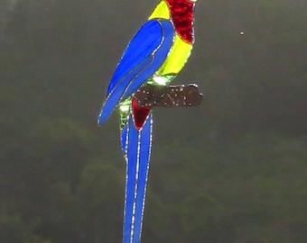 Australian Native Eastern Rosella, Original Design,Decorative solderwork to branch, Stained Glass Bird, Leadlight Rosella, Australian Seller