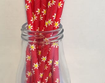 Red & Yellow Spring Floral Paper Straws, Mason Jar Straws, Party Decor, Straws, Tea Party