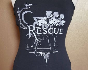 """Small """"Rescue"""" Tank, White Ink on Black"""