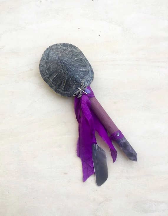 Turtle, Purple Heart, Amethyst, Chariote,Herkimer Diamond & Dragonfly Shaker, Shamanic Healing Rattle, Ceremonial Reiki Native American OOAK