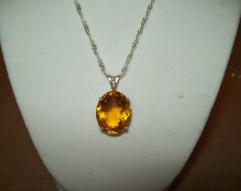 Golden Quartz Pendant set in Sterling Silver