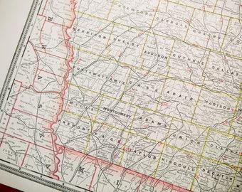 Antique 1893 Crams Railroad Map of Iowa
