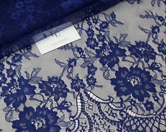 Blue lace fabric, sold by the yard. Delicate Chantilly French lace fabric. Royal blue scalloped eyelash lace fabric with flowers. L77435