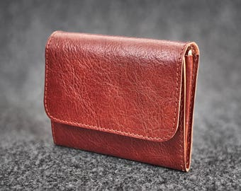 Leather wallet Hand-stitched / Chestnut Brown