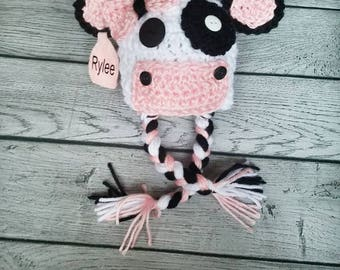 Cow Hat - Girl Cow - Cow Prop - Personalized Hat - Cow Costume - Cow Outfit - Newborn Cow - Preemie Cow - Baby Cow - Baby Girl Hat