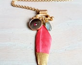 Pink Gold Dipped Feather and Antique Button Boho Necklace