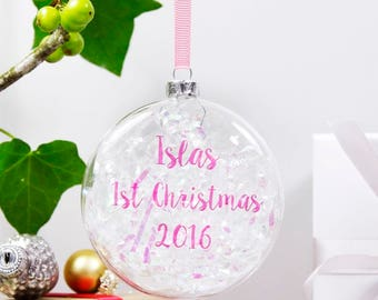 First Christmas Bauble - First Christmas Decoration - Personalised Bauble - Iridescent Bauble - Babies 1st Christmas Keepsake