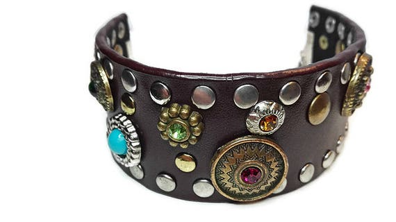 Dark brown faux leather bracelet for woman with bead studs in Western country style