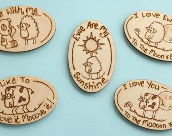 Creature feature cartoon fridge magnet - sheep & cow cartoons, love tokens, fun gift
