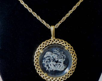 "TRIFARI  ""Capricorn"" Zodiac Reversed Carved Pendant Necklace - Signed"