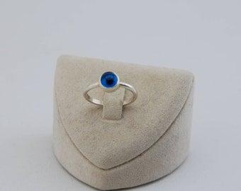 Evil Eye Ring, Glas Evil Eye ,925k Sterling Silver Ring