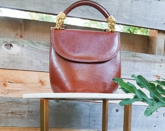 Top Handle Leather Bucket Bag