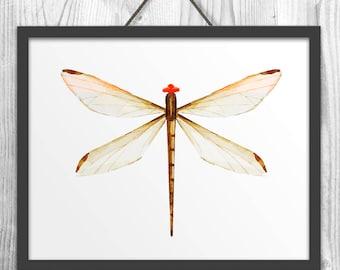Bon Nature Wall Art, Kids Room Decor, Dragonfly Wall Art, Watercolor Print,  Dragonfly