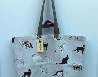 Canvas Bag: Cats, washable