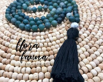 Forest green moss agate mala - beautiful hand knotted tassel necklace - from Flora Fauna Market