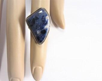 Large Vintage Sterling Sodalite Ring Size 6.5