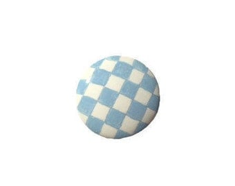Light Blue Check Wooden Hand Painted Drawer Pulls Knobs
