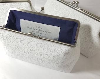 White Lace Bridal Clutch, White Lace Wedding Purse, Bridesmaid Clutch, Lace Bridal Clutch, Personalized Wedding Clutch, 7 inch Clasp