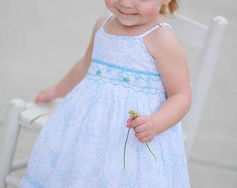 Girls Beach Dress, Turquoise Spaghetti Straps Summer Floral Dress with Coordinated Headband for Baby Girls  17594