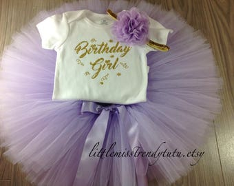 Lilac Birthday Outfit, Purple Birthday Tutu Set, Tutu Set, Birthday Tutu, 1st Birthday Girl Outfit, Cake Smash Outfit, Lavender Tutu Set