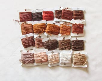 Embroidery floss bundle, brown thread, embroidery cotton, stranded embroidery thread, cross stitch supplies, stranded cotton