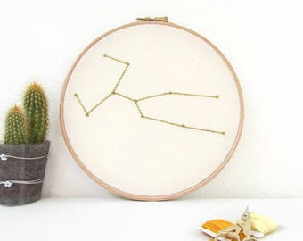 Taurus star sign gift, Hand embroidery hoop art, May birthday gift, sparkly wall hanging, modern embroidery, handmade in the UK