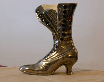 Vintage Brass-Covered Ceramic Victorian Ladies Boot Vase
