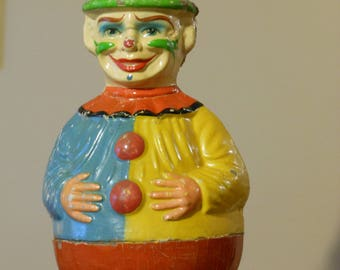 Antique Musical Papier Mache Roly-Poly Clown by Schoenhut (Circa 1900/1910)