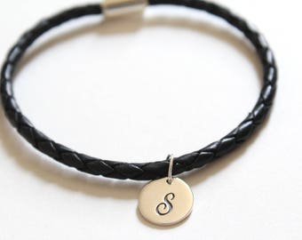 Leather Bracelet with Sterling Silver Cursive S Letter Charm, Bracelet with Silver Letter S Pendant, Initial S Charm Bracelet, S Bracelet
