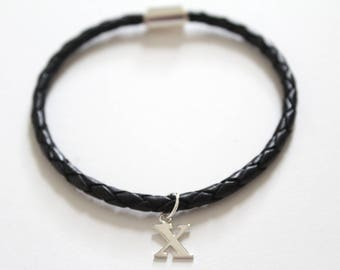 Leather Bracelet with Sterling Silver Typewriter X Letter Charm, Bracelet with Silver Letter X Pendant, Initial X Charm Bracelet, X Bracelet