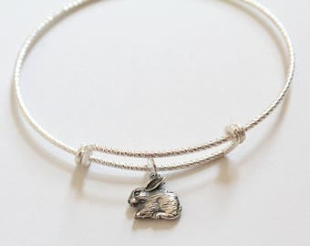 Sterling Silver Bracelet with Sterling Silver Bunny Charm, Bunny Bracelet, Bunny Charm Bracelet, Bunny Pendant Bracelet, Cute Bunny Bracelet