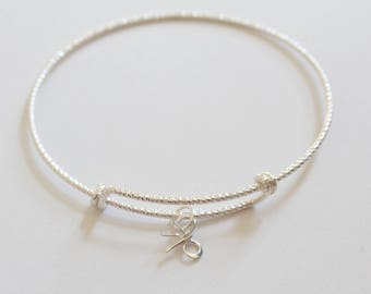 Sterling Silver Bracelet with Sterling Silver Bow Charm, Bow Bracelet, Bow Charm Bracelet, Silver Bow Bracelet, Silver Bow Charm Bracelet