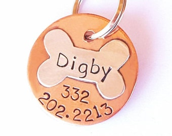 Handmade Sterling Silver Dog Bone Pet Tag, Dog Tag, Tags for Dogs, Small Dog Tags, ID Tag, Collar Tag